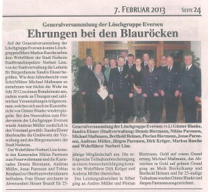 Zeitungsbericht Generalversammlung 2013